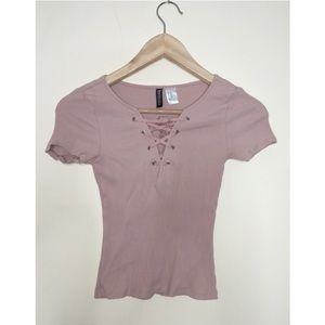 H&M Lace Tie Crop Top (pink)